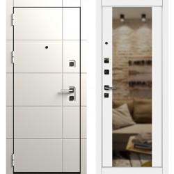 Входная дверь  Берсеркер ACOUSTIC БЕЛАЯ  c зеркалом Palitra Alpina Z  (GA-K363МКб Z)