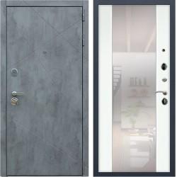 Входная дверь - РЕКС  «ДУЭТ Б с зеркалом» силк сноу