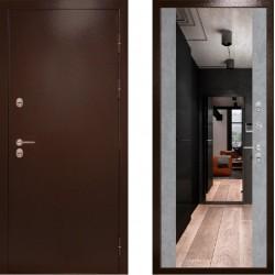 Входная металлическая дверь с терморазрывом -  Сибирь термо c зеркалом бетон (TD)