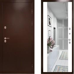 Входная металлическая дверь с терморазрывом -  Сибирь термо c зеркалом белый (TD)